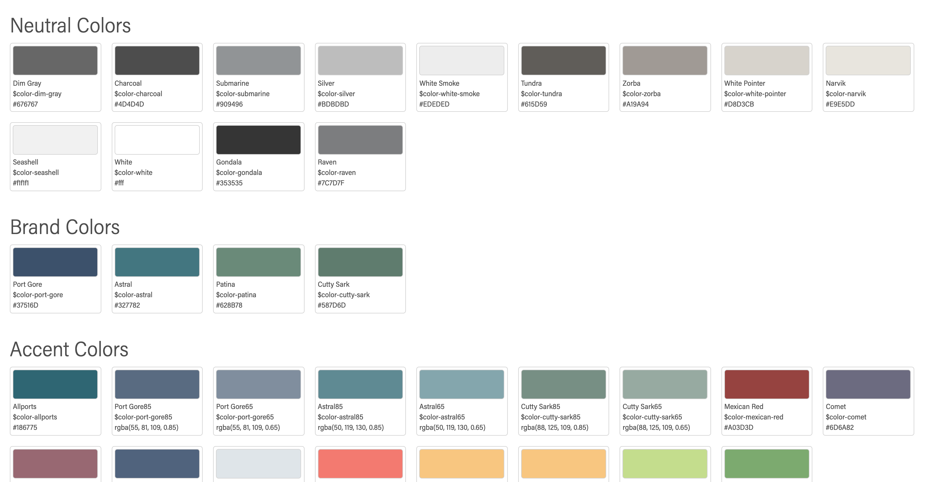 The color swatches, grouped by type in Storybook.