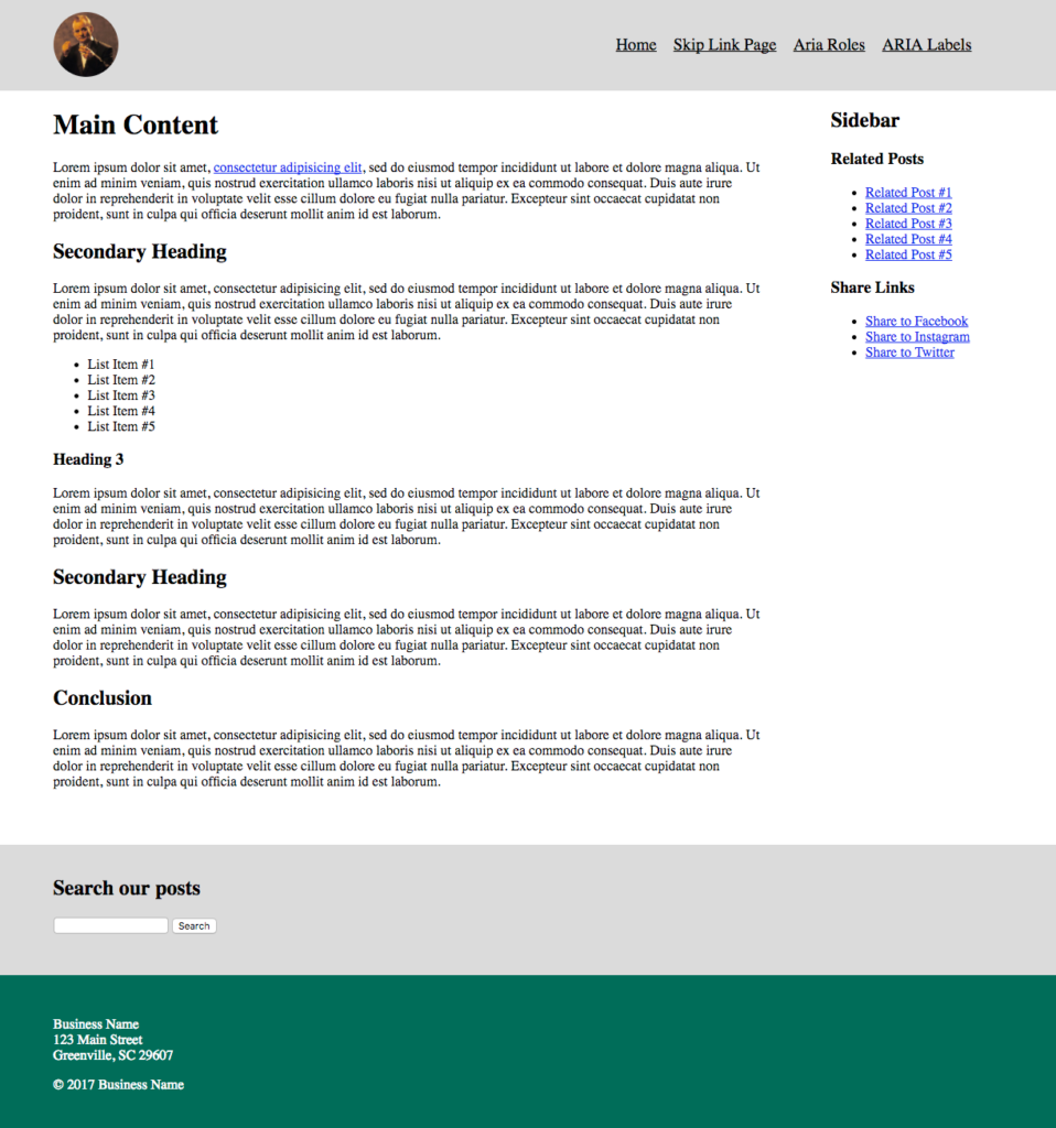 Screenshot of the initial layout. Click on the image to preview the page.